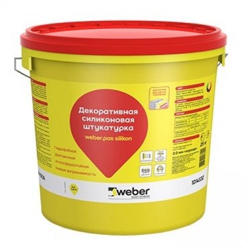 Штукатурка силиконовая декоративная Weber.Pas Silikon Шуба 1,5 мм белая 25 кг