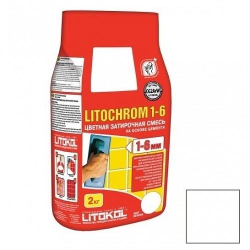 Затирка цементная для швов Litokol Litochrom 1-6 C.00 белая 2 кг