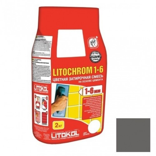 Затирка цементная для швов Litokol Litochrom 1-6 C.40 Антрацит 2 кг
