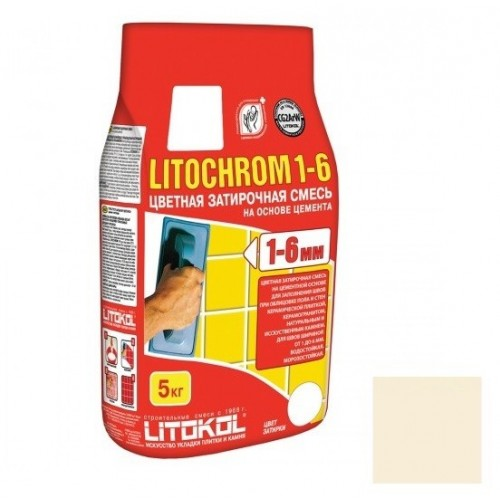 Затирка цементная для швов Litokol Litochrom 1-6 C.50 светло-бежевая 5 кг