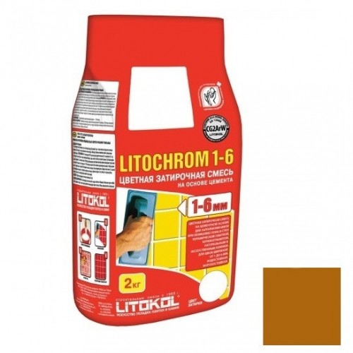 Затирка цементная для швов Litokol Litochrom 1-6 C.90 красно-коричневая 2 кг