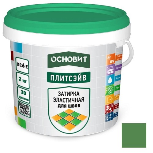 Затирка эластичная для швов Основит Плитсэйв XC6 Е тёмно-зелёная 052 2 кг