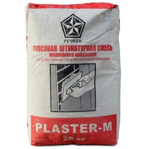Штукатурка гипсовая Русеан Plaster-M 25 кг для машинного нанесения