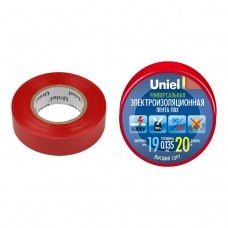 Изолента ПВХ Uniel UIT-135P 19 мм красная 20 м