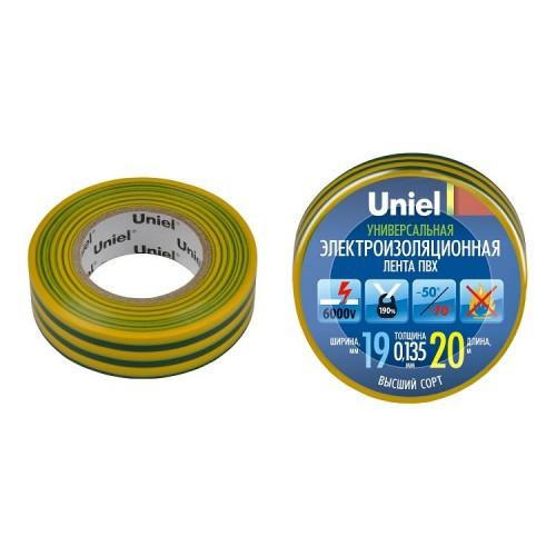 Изолента ПВХ Uniel UIT-135P 19 мм желто-зеленая 20 м