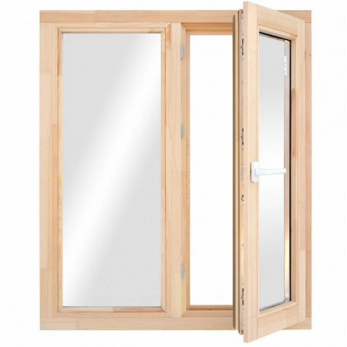 Окно деревянное однокамерное Дана 28 мм 960х970х68 мм двухстворчатое створка поворотная правая 2 уплотнителя